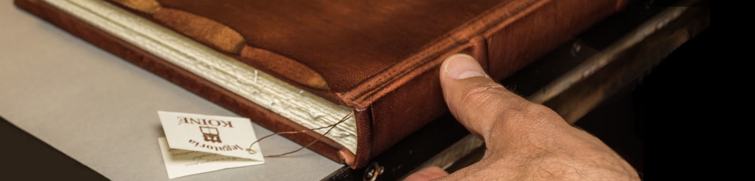 Leather bound books made in Italy by expert hands.